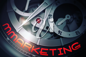 Mmarketing - Vintage Wristwatch with Visible Mechanism and Inscription on Face. Automatic Men Pocket Watch with Mmarketing on Face, Symbol of Time. Business Concept with Lens Flare. 3D Rendering.