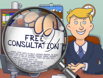 Officeman in Office Workplace Shows Text on Paper Free Consultation. Closeup View through Lens. Multicolor Doodle Style Illustration.