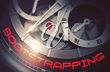 Bootstrapping on Vintage Wrist Watch Detail, Chronograph Closeup. Old Wrist Watch Machinery Macro Detail and Inscription - Bootstrapping. Work Concept with Glowing Light Effect. 3D Rendering.