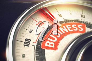 3D of a Speed Meter with Red Needle Pointing the Message Business. Business Concept. Business - Conceptual Scale with Red Message on It. Horizontal image. 3D Render.