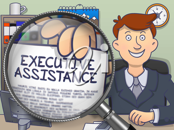 Executive Assistance. Paper with Inscription in Man's Hand through Magnifying Glass. Colored Modern Line Illustration in Doodle Style.