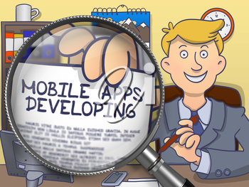 Man in Suit Looking at Camera and Holds Out a Paper with Text Mobile Apps Developing Concept through Magnifier. Closeup View. Multicolor Doodle Style Illustration.