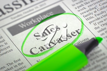 Sales Canvasser - Jobs in Newspaper, Circled with a Green Highlighter. Blurred Image. Selective focus. Hiring Concept. 3D Render.