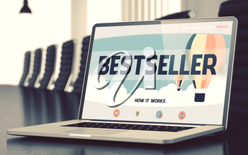 Bestseller Concept. Closeup Landing Page on Laptop Display on Background of Meeting Room in Modern Office. Blurred Image. Selective focus. 3D Illustration.