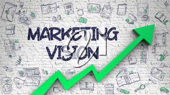 Marketing Vision - Modern Line Style Illustration with Hand Drawn Elements. Marketing Vision - Business Concept. Inscription on Brick Wall with Hand Drawn Icons Around.