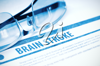 Brain Stroke - Medical Concept with Blurred Text and Specs on Blue Background. Selective Focus. 3D Rendering.