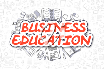 Business Illustration of Business Education. Doodle Red Text Hand Drawn Doodle Design Elements. Business Education Concept.