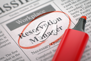 Reservation Manager - Jobs in Newspaper, Circled with a Red Marker. Blurred Image. Selective focus. Hiring Concept. 3D Illustration.