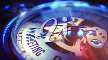 Mmarketing. on Pocket Watch Face with CloseUp View of Watch Mechanism. Time Concept. Film Effect. Vintage Watch Face with Mmarketing Phrase on it. Business Concept with Light Leaks Effect. 3D Render.