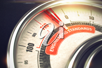 Engineering Standards - Red Label on the Conceptual Compass with Needle. Business Mode Concept. 3D Illustration.