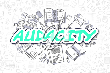 Doodle Illustration of Audacity, Surrounded by Stationery. Business Concept for Web Banners, Printed Materials.
