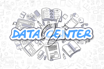 Blue Inscription - Data Center. Business Concept with Cartoon Icons. Data Center - Hand Drawn Illustration for Web Banners and Printed Materials.