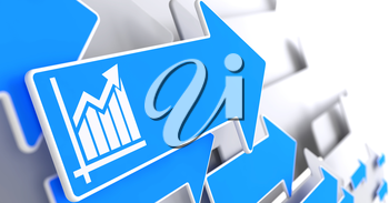 Growth Chart Icon on Blue Arrow on a Grey Background. Business Concept.