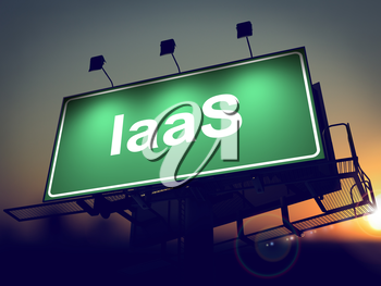 IAAS - Green Billboard on the Rising Sun Background.