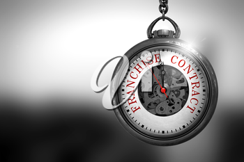 Business Concept: Franchise Contract on Vintage Watch Face with Close View of Watch Mechanism. Vintage Effect. Franchise Contract Close Up of Red Text on the Vintage Pocket Clock Face. 3D Rendering.