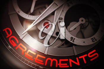 Agreements - Vintage Watch with Visible Mechanism and Inscription on Face. Agreements on Face of Luxury Men Watch Machinery Macro Detail Monochrome. Business Concept with Lens Flare. 3D Rendering.