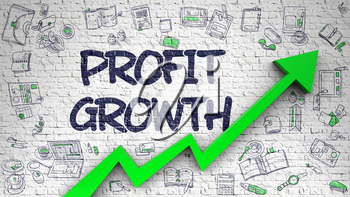 Profit Growth - Increase Concept with Doodle Icons Around on the White Wall Background. Profit Growth Inscription on Modern Illustation. with Green Arrow and Doodle Design Icons Around. 3d.