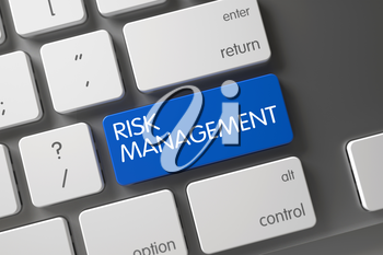 Risk Management Concept: Modern Keyboard with Risk Management, Selected Focus on Blue Enter Keypad. 3D.