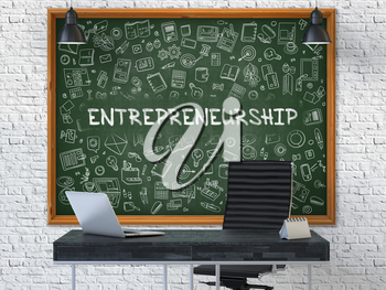 Hand Drawn Entrepreneurship on Green Chalkboard. Modern Office Interior. White Brick Wall Background. Business Concept with Doodle Style Elements. 3D.