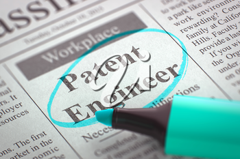 Newspaper with Jobs Patent Engineer. Blurred Image with Selective focus. Hiring Concept. 3D Illustration.