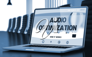 Audio Optimization on Landing Page of Mobile Computer Display in Modern Conference Room Closeup View. Blurred Image with Selective focus. 3D.