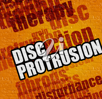 Modern healthcare concept: Disc Protrusion on the Yellow Wall . Yellow Brick Wall with Disc Protrusion on it .