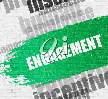 Business Education Concept: Engagement on the White Brick Wall Background with Wordcloud Around It. Engagement Modern Style Illustration on Green Paintbrush Stripe.