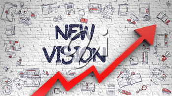 New Vision - Modern Line Style Illustration with Doodle and 3d Elements. New Vision - Business Concept. Inscription on the White Wall with Doodle Design Icons Around. 3d.