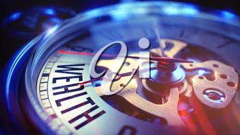 Pocket Watch Face with Wealth Wording on it. Business Concept with Lens Flare Effect. 3D Illustration.