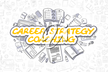 Business Illustration of Career Strategy Coaching. Doodle Yellow Word Hand Drawn Doodle Design Elements. Career Strategy Coaching Concept.