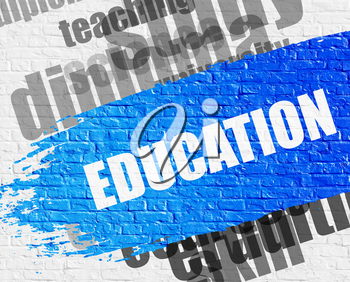 Business Education Concept: Education on the White Brick Wall Background with Word Cloud Around It. Education - on Brickwall with Word Cloud Around. Modern Illustration.