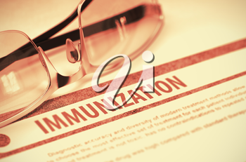 Diagnosis - Immunization. Medical Concept on Red Background with Blurred Text and Eyeglasses. Selective Focus. 3D Rendering.