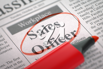 Sales Officer. Newspaper with the Advertisements and Classifieds Ads for Vacancy, Circled with a Red Marker. Blurred Image. Selective focus. Concept of Recruitment. 3D.