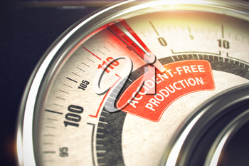 Accident-Free Production - Conceptual Dial with Red Caption on It. Horizontal image. 3D Illustration.