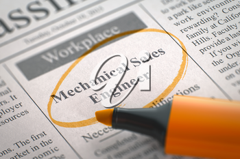 Mechanical Sales Engineer - Classified Advertisement of Hiring in Newspaper, Circled with a Orange Highlighter. Blurred Image with Selective focus. Hiring Concept. 3D Render.