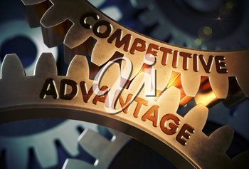 Competitive Advantageon the Golden Cogwheels. Competitive Advantage on Mechanism of Golden Metallic Gears with Lens Flare. 3D Rendering.