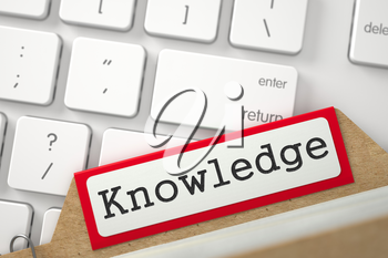 Knowledge. Red Card File Lays on White PC Keyboard. Business Concept. Closeup View. Selective Focus. 3D Rendering.