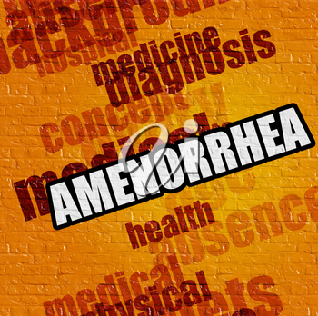 Healthcare concept: Yellow Wall with Amenorrhea on the it . Amenorrhea - on Brick Wall with Wordcloud Around .