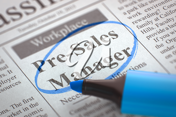 A Newspaper Column in the Classifieds with the Small Advertising of Pre-Sales Manager, Circled with a Blue Marker. Blurred Image with Selective focus. Hiring Concept. 3D.
