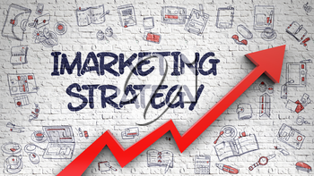 Imarketing Strategy Inscription on the Modern Illustation. with Red Arrow and Doodle Icons Around. Imarketing Strategy Drawn on Brick Wall. Illustration with Hand Drawn Icons. 3d.
