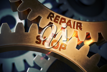Repair Shop - Industrial Illustration with Glow Effect and Lens Flare. Repair Shop on Mechanism of Golden Metallic Gears with Glow Effect. 3D Rendering.