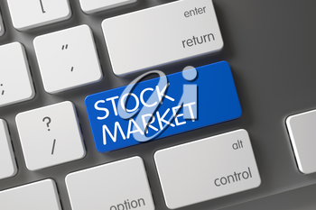 Stock Market Concept Modernized Keyboard with Stock Market on Blue Enter Button Background, Selected Focus. 3D Illustration.