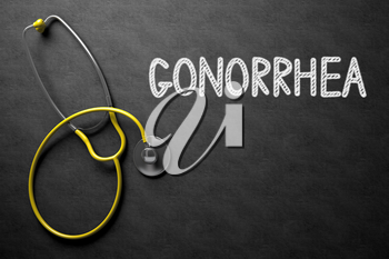 Medical Concept: Gonorrhea - Medical Concept on Black Chalkboard. Medical Concept: Gonorrhea - Text on Black Chalkboard with Yellow Stethoscope. 3D Rendering.
