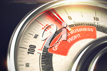 Growing Business Profit Rate Conceptual Speedmeter with Text on the Red Label. Business Concept. 3D Illustration.