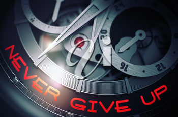 Never Give Up - Black and White Up Close of Wrist Watch Mechanism. Never Give Up on the Luxury Watch, Chronograph Close-Up. Time Concept with Lens Flare. 3D Rendering.