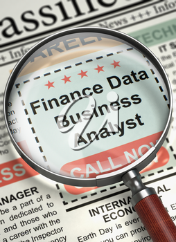 Finance Data Business Analyst. Newspaper with the Job Vacancy. Column in the Newspaper with the Job Vacancy of Finance Data Business Analyst. Job Seeking Concept. Blurred Image. 3D.
