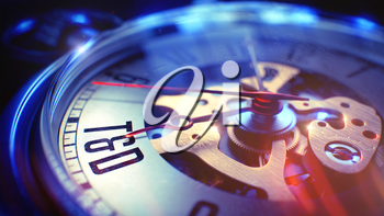 Vintage Pocket Watch Face with Tandd - Training And Development Wording on it. Business Concept with Lens Flare Effect. 3D Render.