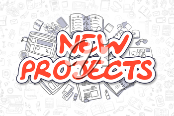Cartoon Illustration of New Projects, Surrounded by Stationery. Business Concept for Web Banners, Printed Materials.