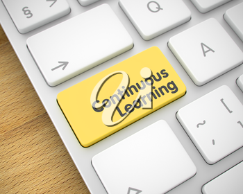 Continuous Learning Written on the Yellow Keypad of White Keyboard. Close-Up View on the Aluminum Keyboard - Continuous Learning Yellow Keypad. 3D Render.