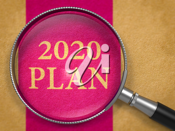 2020 Plan Concept through Magnifier on Old Paper with Lilac Vertical Line Background. 3D Render.